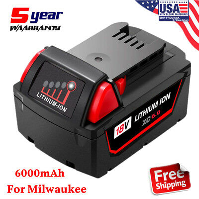 For Milwaukee 18V M18 M18B 48-11-1850 48-11-1828 Lithium Ion XC 6.0 Battery NEW