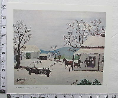 1970's Print Grandma Moses Home For Thanksgiving Folk Artist Anna Robertson (P1)