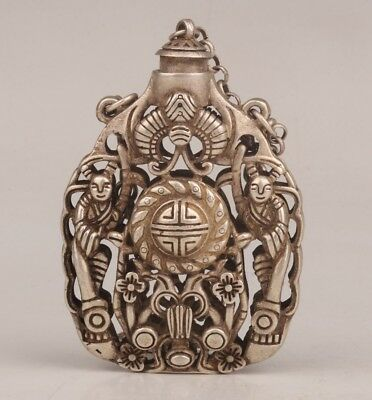 Tibetan Silver Hand-Cut Ancient Royal Collection Snuff Bottle Pendant Old Rare