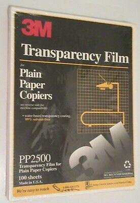 3M TRANSPARENCY Film PP2500 100 Sheets Brand New SEALED for copiers 8.5 x 11""