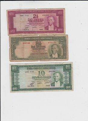 Turkey paper money  3 old notes  lower grade and up