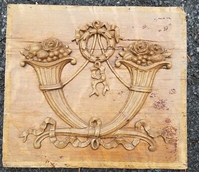 Antique foa carving pediment fantastic detail basket cornucopia