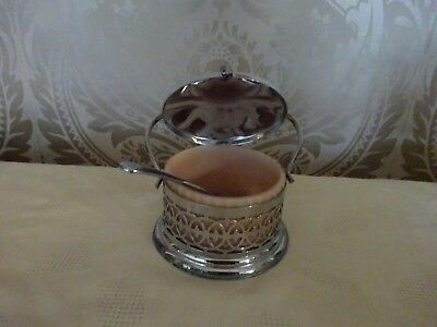 Vintage Retro Art Deco Pink Glass & Possibly Silver plated Sugar Bowl