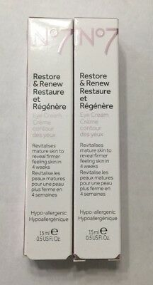 Boots No7 Restore and Renew EYE CREAM 0.5 Fl. Oz. Pack Of 2