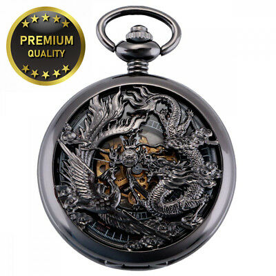 ManChDa Antique Mechanical Pocket Watch Lucky Dragon & Phoenix (Best Wishes)...