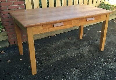 Antique Quarter Sawn Oak Arts Crafts Mission Library Writing Table 2 Drawer Desk