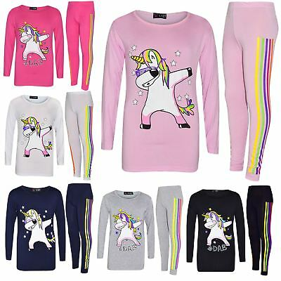 Kids Girls Rainbow Unicorn Dab Floss Long Sleeves Top Legging Xmas Set 7-13 Year