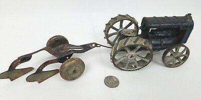 """Vintage Antique Heavy Cast Iron Tractor & Two Bottom Plow 12"""" long altogether"""