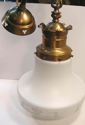 Vintage Gothic Ceiling Fixture Light Kaylite Satin Glass Mushroom Globe Pendant