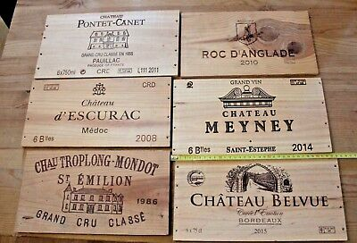 6 Vintage French  Wine Wood Crate Box Panels
