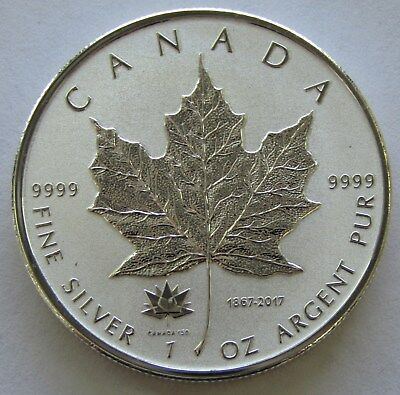 2017 Canada Silver Maple Leaf 1oz 150th Anniversary Privy Reverse Proof  #8211