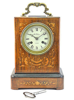 HANDSOME ANTIQUE 19thC FRENCH ROSEWOOD SATINWOOD INLAID MANTLE CLOCK LEVIN PARIS
