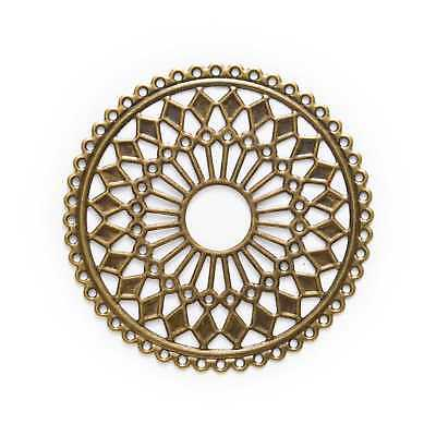 Bronze Tone Hollow Filigree Wraps Round Connnector Embellishments Findings 6cm