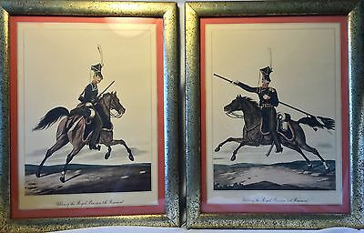 Pr Lg Framed Antique Borghese ROYAL PRUSSIAN Regiment Cavalry Hand Painted Print
