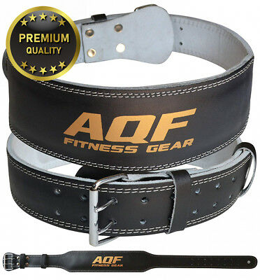 """AQF 4"""" Leather Weight Lifting Belt Padded Lumbar Back Support with Suede..."""