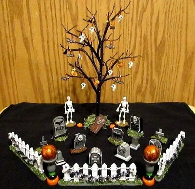 Mini Skeletons & Mini Tombstones Graveyard Fence Tree / Ornaments 46pc. Set OOAK