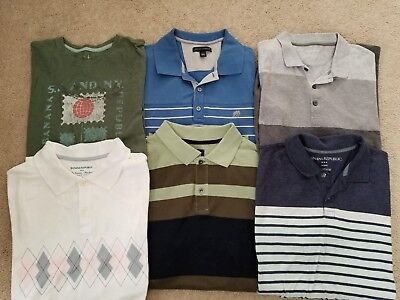 Lot Of 7 Banana Republic Mens Short Sleeve Polo / T Shirts L