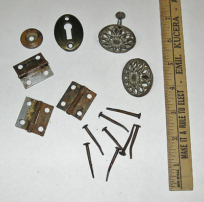Vintage Mix Furniture Hardware-Knobs, Escutcheon, Hinges, Nails