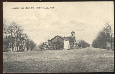 Early Sepia Photo Pc, Rochester And Main Streets, Mukwonago, Wi. Dirt Streets