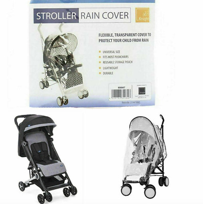 Universal Transparent Pushchair Stroller Rain Cover with Black Trim Heavy Duty