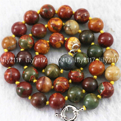 "Natural 8/10/12/14mm Multicolor Picasso Jasper Gems Round Beads Necklace 18"" AAA"