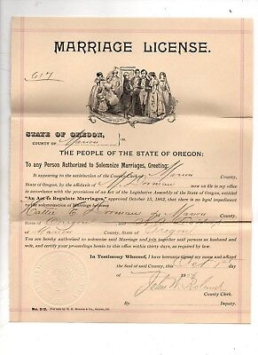 1904 State of Oregon, Marion County MARRIAGE LICENSE Nice Wedding Graphics