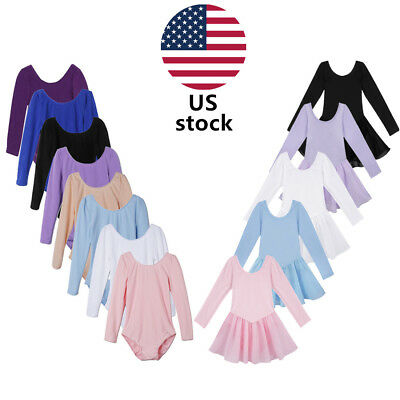 Kids Girls Ballet Dance Dress Long Sleeves Leotard Gymnastics Bodysuit Dancewear