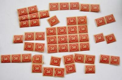 Documentary US Internal Revenue Stamps Red 50 cents Gummed Unused Lot 54 Fragile