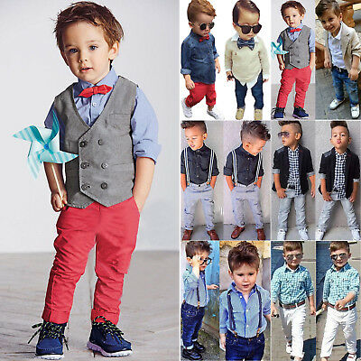 f852fb1e8f55 KIDS BABY BOYS Gentleman Suit Coat Tops Shirt Pants Trousers Outfit ...