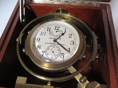 .Wwii C.1941 Hamilton Mahogany Usa Naval Deck Clock Chronometer Model 22