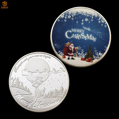 2018 Merry Christmas Santa Claus Deer Cartoon Silver Souvenir Coin Collection