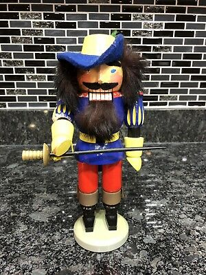 Vintage German Nutcracker Erzgebirge Musketeer Renaissance Blue Coat Sword