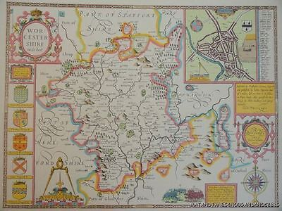 Worcestershire Worcester Full Size PRINT Copy Replica John Speed Old Map 1610