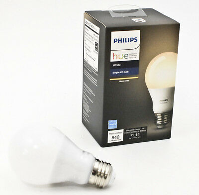 Philips Smart Wireless Single Bulb Hue A19 LED 60-W Equivalent Dimmable White