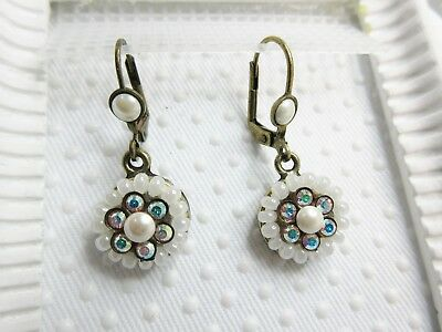 New $74 Michal Negrin AB Clear Swarovski elements Simulated Pearls Bead Earrings