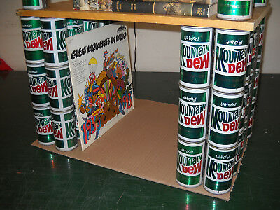Double Stack of 3 Vintage 1960's Straight Steel Pull Top Tab MOUNTAIN DEW CANS
