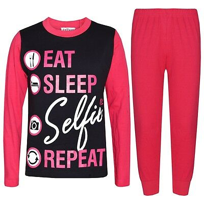 Kids Girls Pink Pyjamas Designer Eat Sleep Selfie Repeat Lounge Wear PJS 2-13 Yr