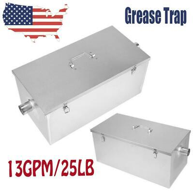 25LB Commercial 13GPM Gallons Per Minute Grease Trap Stainless Steel Interceptor