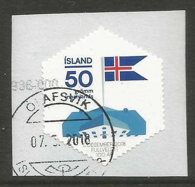ICELAND 2018 50g 100th ANNIV OF INDEPENDENCE ON A PIECE, SCOTT 1521, USED (o)