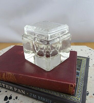 Vintage Square Glass Inkwell with Glass Lid