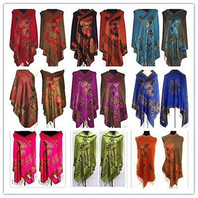 Fashion Chinese Women Double Side Butterfly Pashmina Scarf Wrap Shawl Xmas Gift
