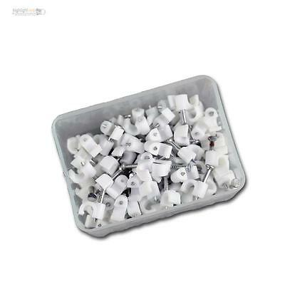 100 Nail Clamps White, for Cable Max Ø4mm , Cable Clamp Nail Clip Cable Clamps
