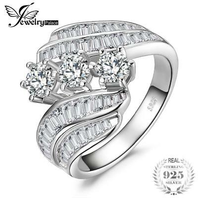 JewelryPalace Channel Set Baguette Bypass Band 3 Stone 5ct Cubic Zirconia Weddin