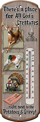 Tin Thermometer,DEER , Duck Turkey ALL God's Creatures