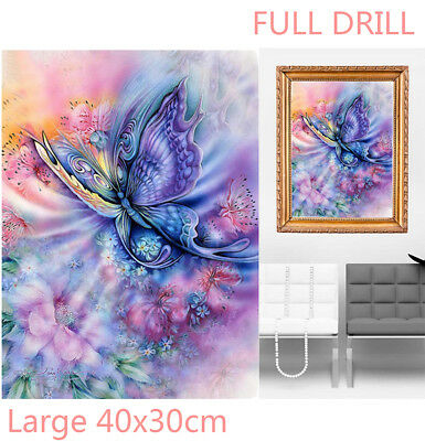 AU Full Drill Dream Butterfly Flowers 5D Diamond Painting Cross Stitch Craft EZ
