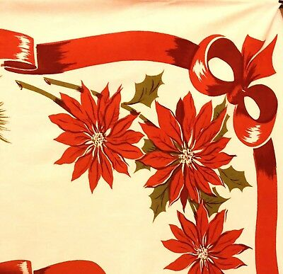 Vintage Mid Century Christmas Holiday Tablecloth Red Green White 65 X 53 flowers