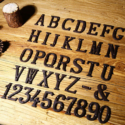 3D Metal Letters Cast Iron Alphabet Numbers DIY Street Address Home House Signs