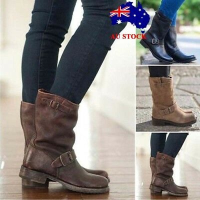 Women Ladies Winter Leather Mid Calf Boots Casual Flat Buckle Slip On Shoes Size