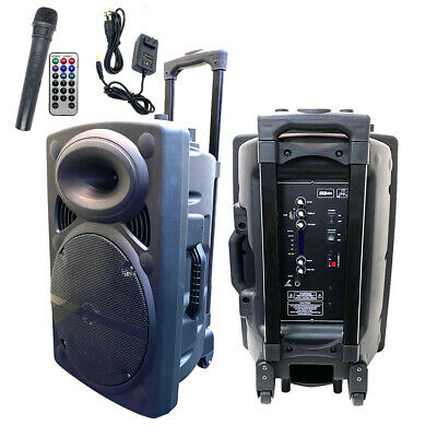"12"" Portable Remote Audio PA Speaker W/ Bluetooth USB Wireless microphone 1500W"