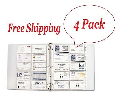 "C-Line - Business Card Binder Pages, Holds 20 Cards, 8 1/8"" x 11 1/4"",Clear 4 Pk"